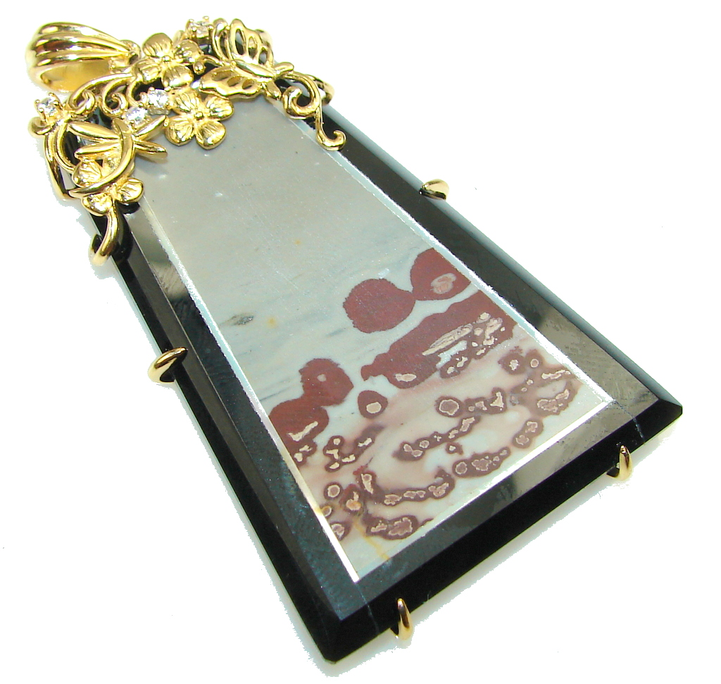 Awesome Design Silver Leaf Jasper & Onyx 18ct. Gold Plated Sterling Silver Pendant