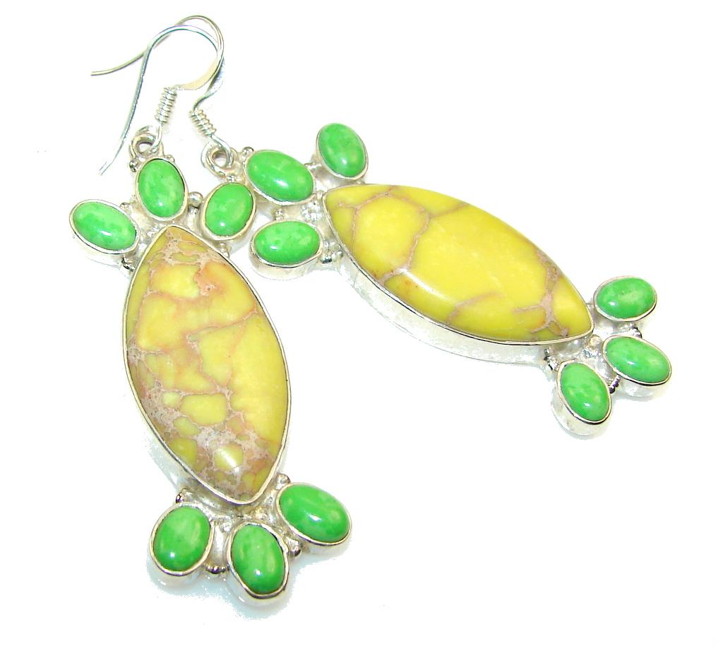 NEW!! Yellow Sea Sediment Jasper Sterling Silver earrings