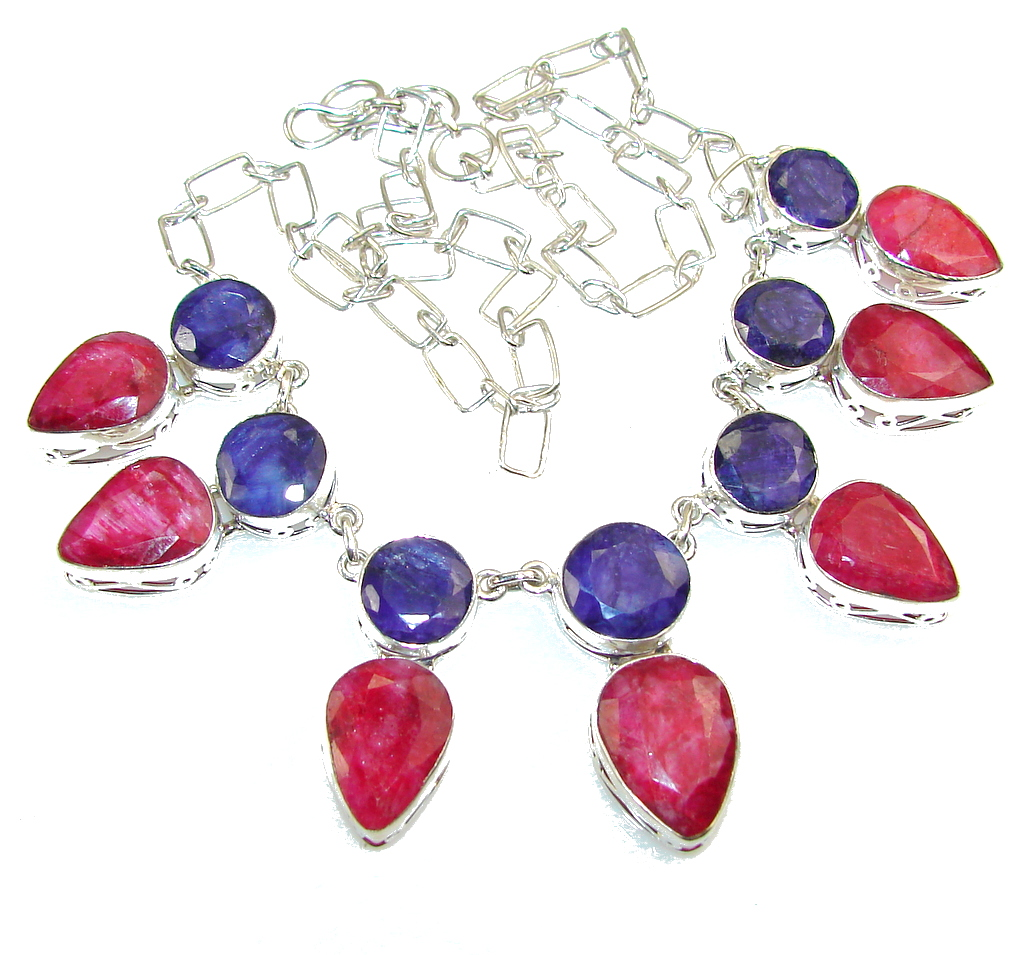 Fiesta Fun!! Red Ruby Sterling Silver Necklace