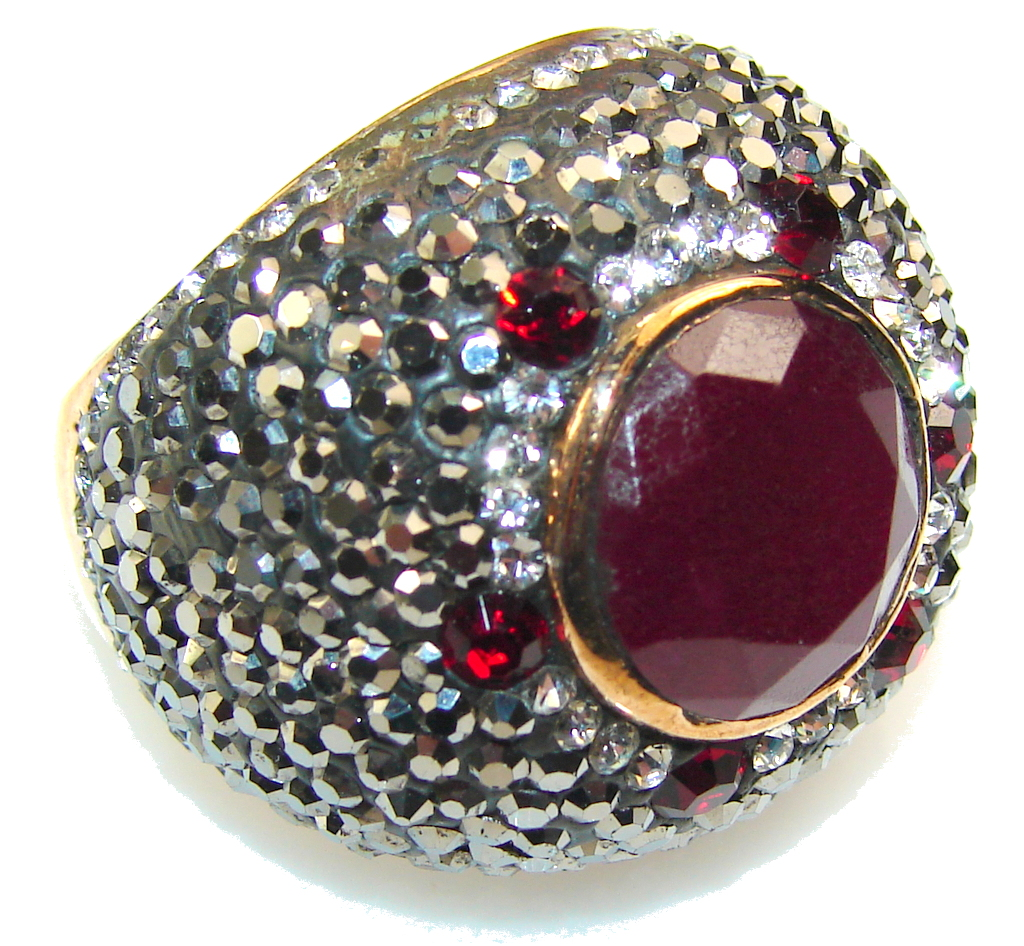 Luxury Design!! Red Ruby Sterling Silver ring s. 7 1/2