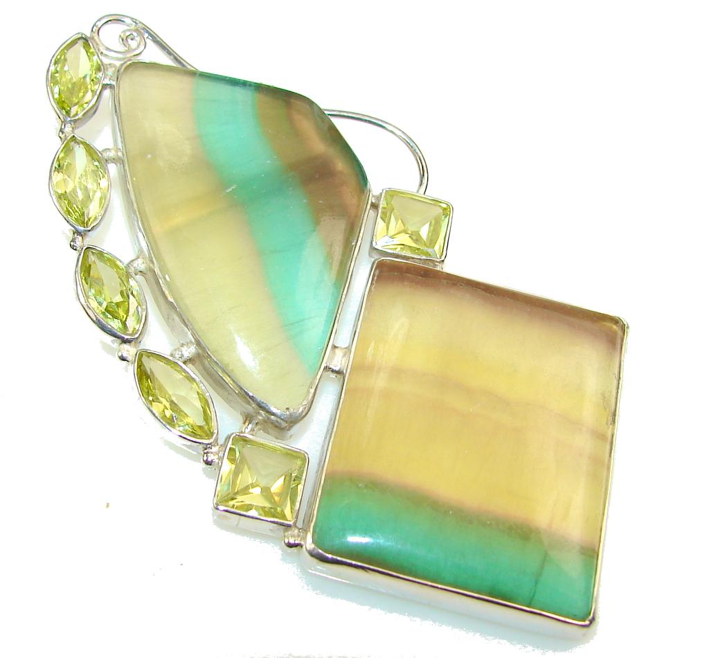 Huge!! Aura of Beauty! Green Fluorite Sterling Silver Pendant
