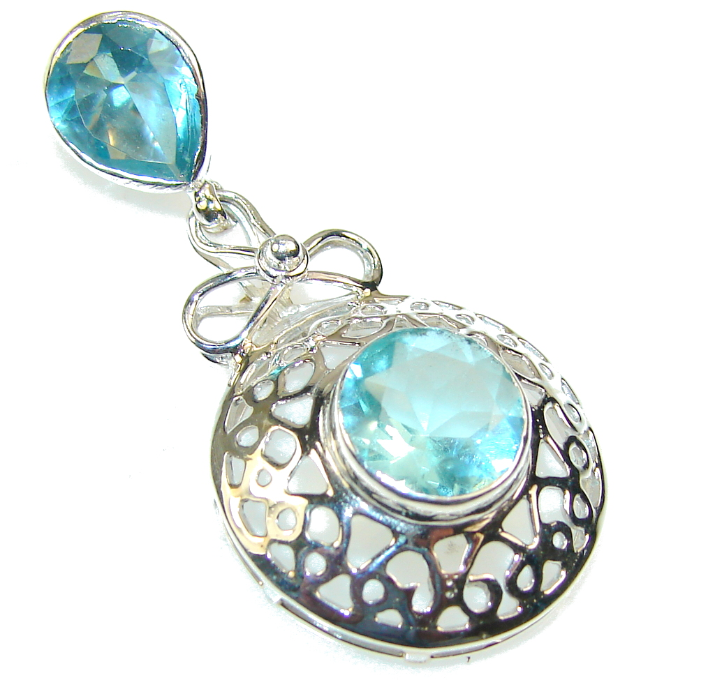Image of Light Created Swiss Blue Topaz Sterling Silver Pendant