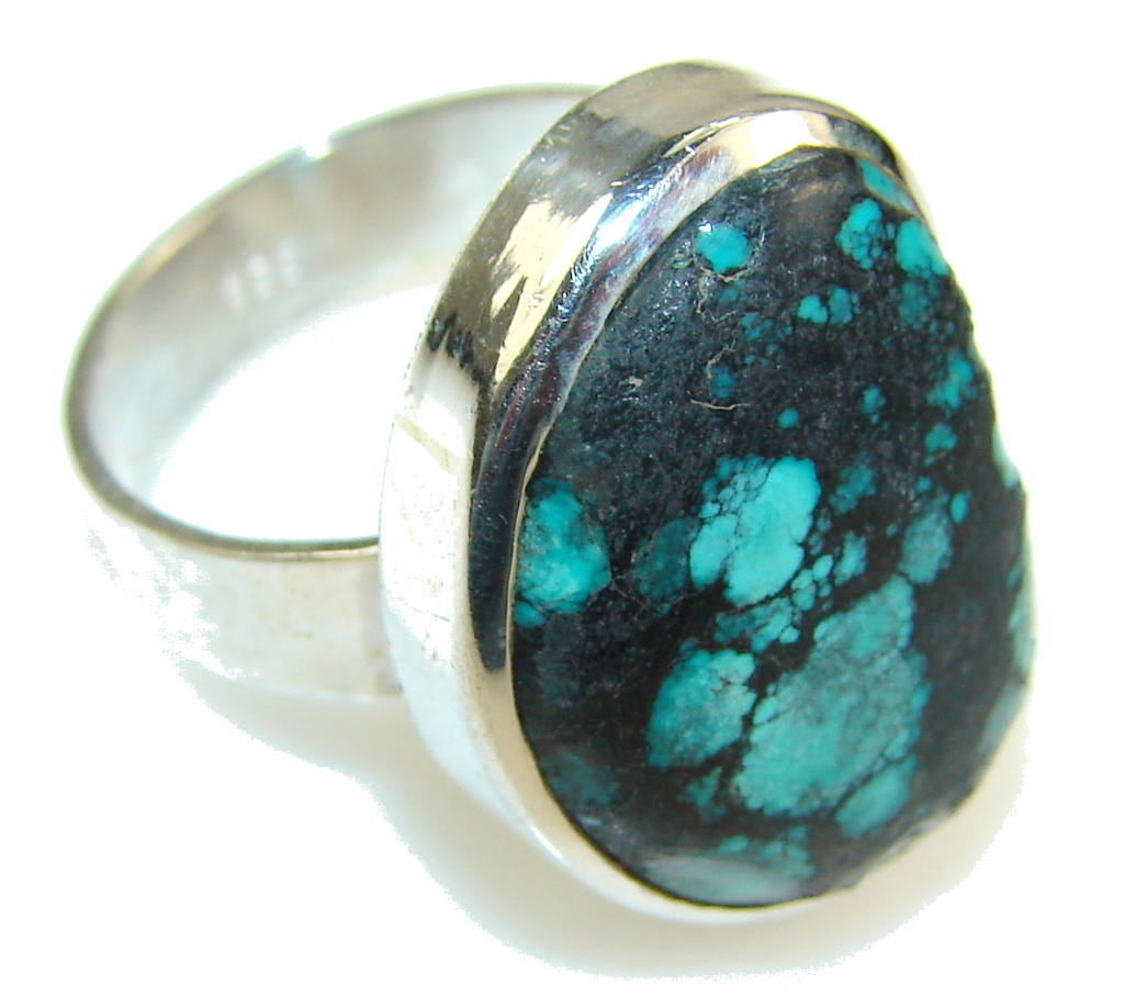Classy Blue Turquoise Sterling Silver Ring s. 9 1/2