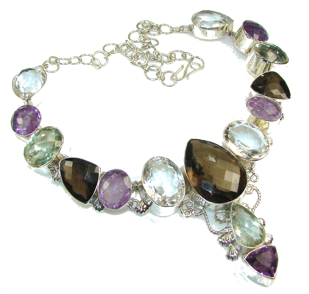 Huge!! Duality In Brown! Smoky Topaz Sterling Silver necklace