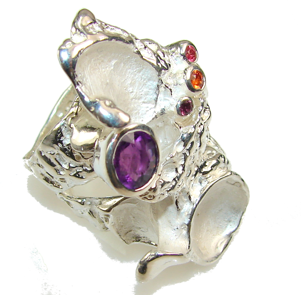 Big! Love's Victory!! Italy Made Amethyst Sterling Silver ring s. 9