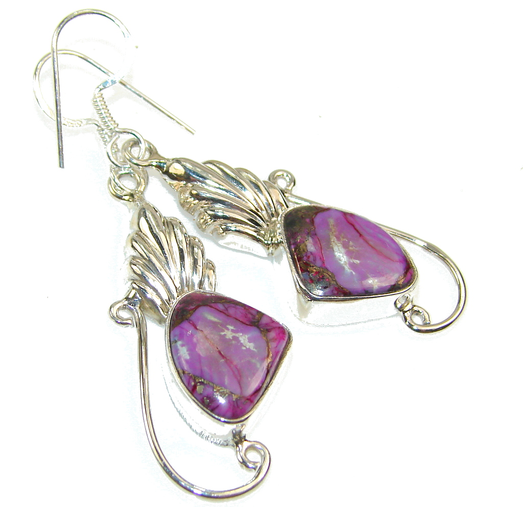 Amazing Purple Copper Turquoise Sterling Silver earrings