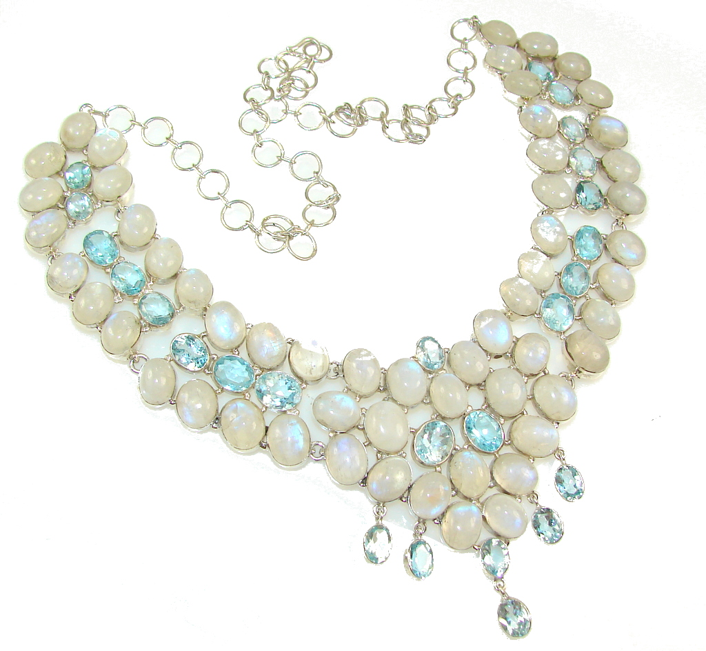 Huge!! Luxury White Moonstone Sterling Silver necklace