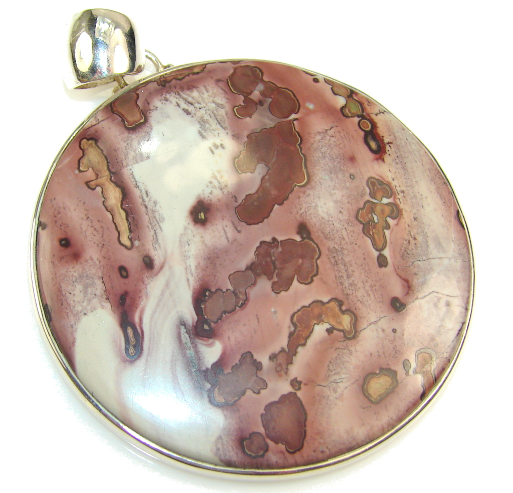 Huge!Awesome Design!! Silver Leaf Jasper Sterling Silver Pendant