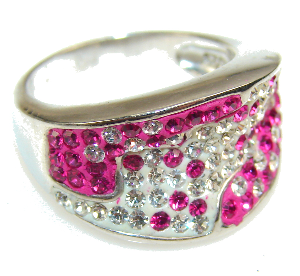 Awesome Design Pink Quartz Sterling Silver Ring s. 7 1/2