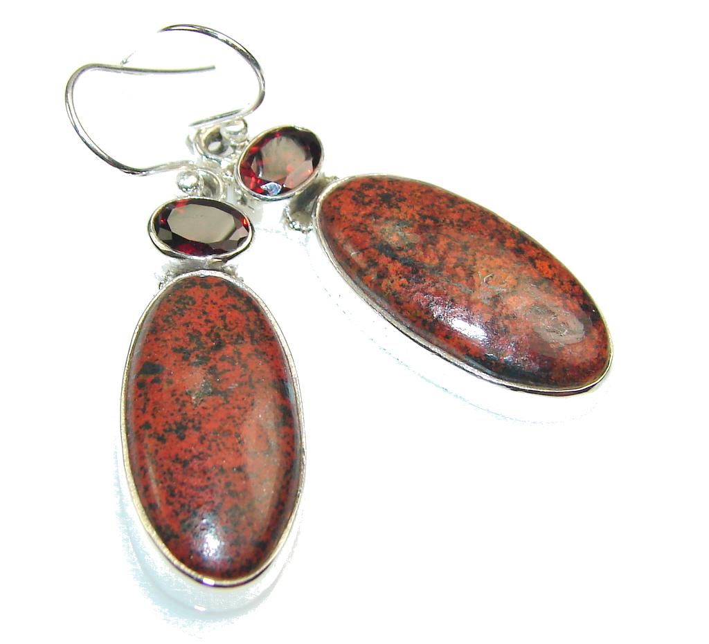 Stylish Red Jasper Sterling Silver earrings