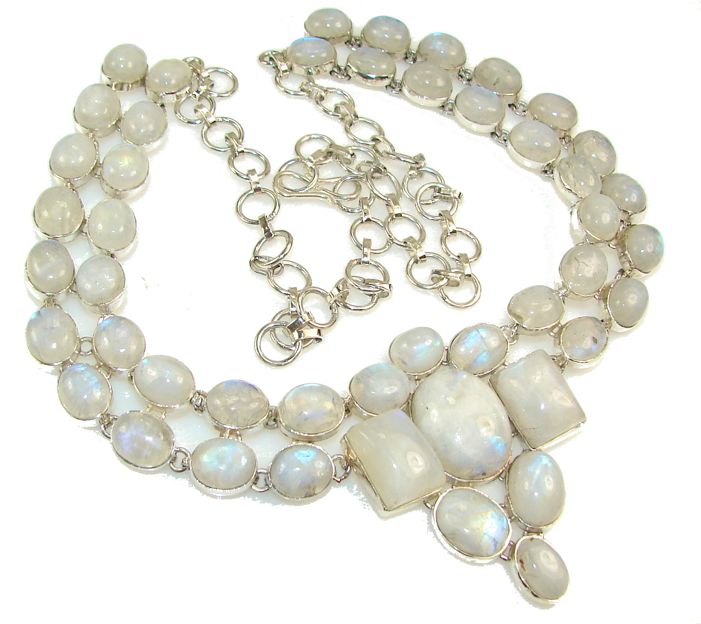Huge!Special Secret!! White Moonstone Sterling Silver necklace
