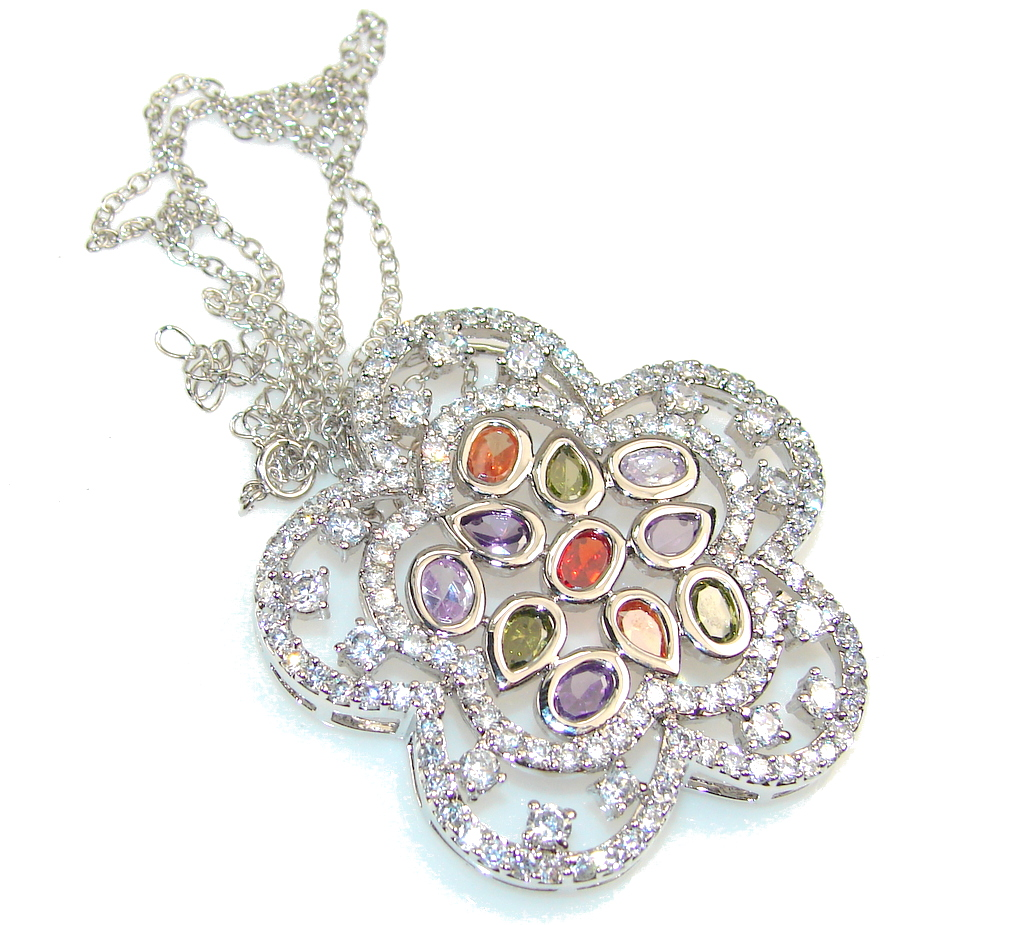 Spectacular Design!! White Topaz Sterling Silver necklace