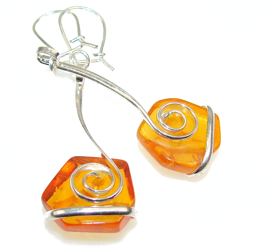 Perfect Brown Polish Amber Sterling Silver earrings