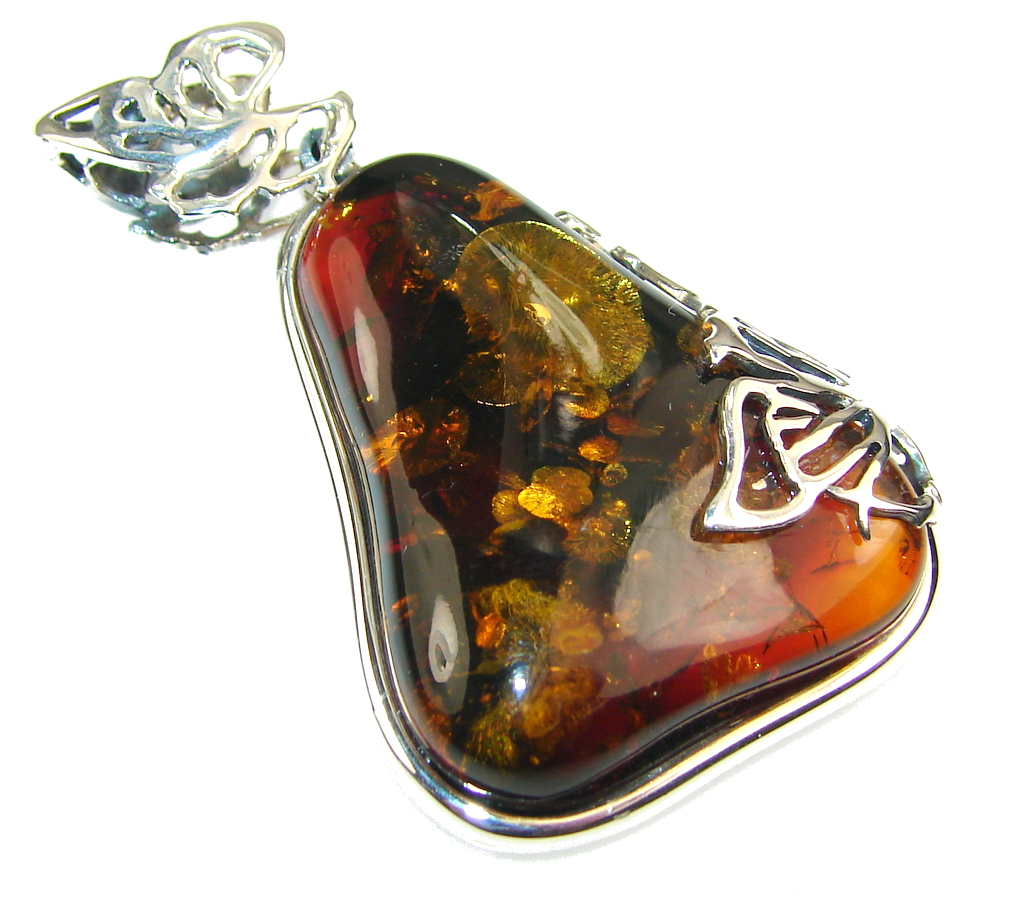 Awesome Polish Amber Sterling Silver Pendant