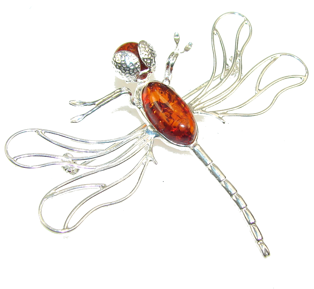 New Design!! Polish Amber Sterling Silver Pendant / Brooch