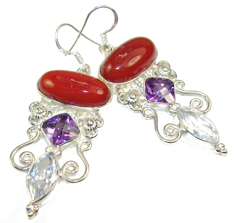 Amazing Brown Carnelian Sterling Silver earrings