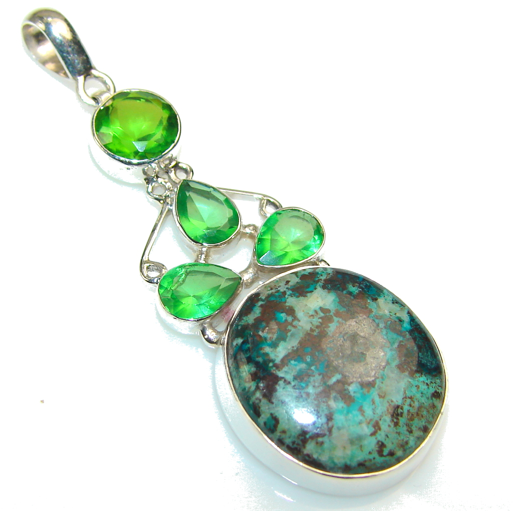 Excellent Blue Chrysocolla Sterling Silver pendant