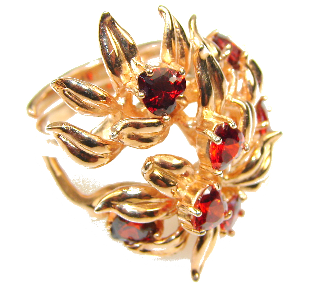 Lovely Design!! Red Garnet Gold Plated Sterling Silver ring s. 8 - Adjustable