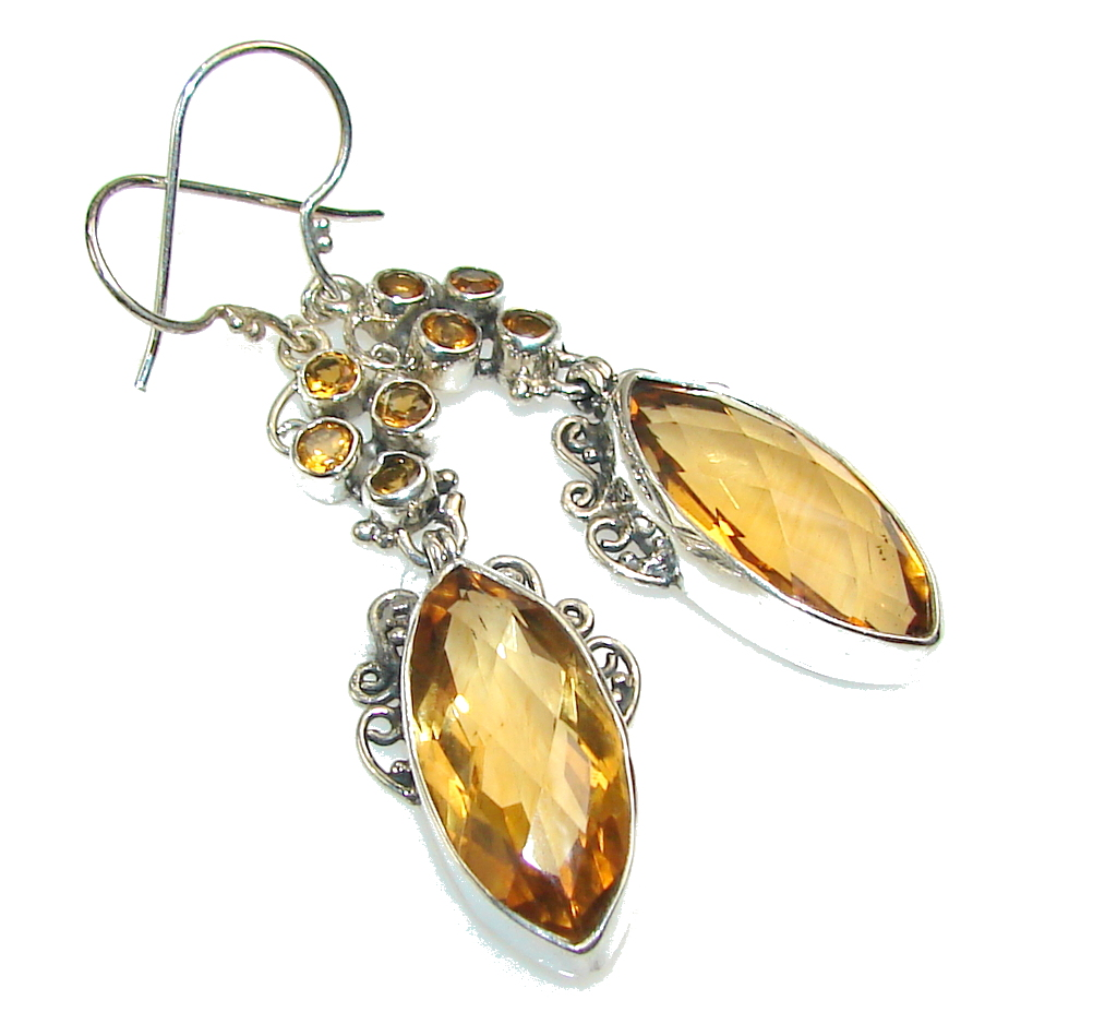 Awesome Design!! Golden Topaz Sterling Silver earrings