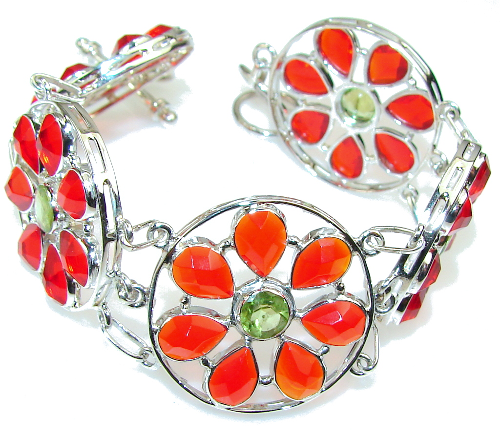 Falling In Love!! Multicolor Quartz Sterling Silver Bracelet