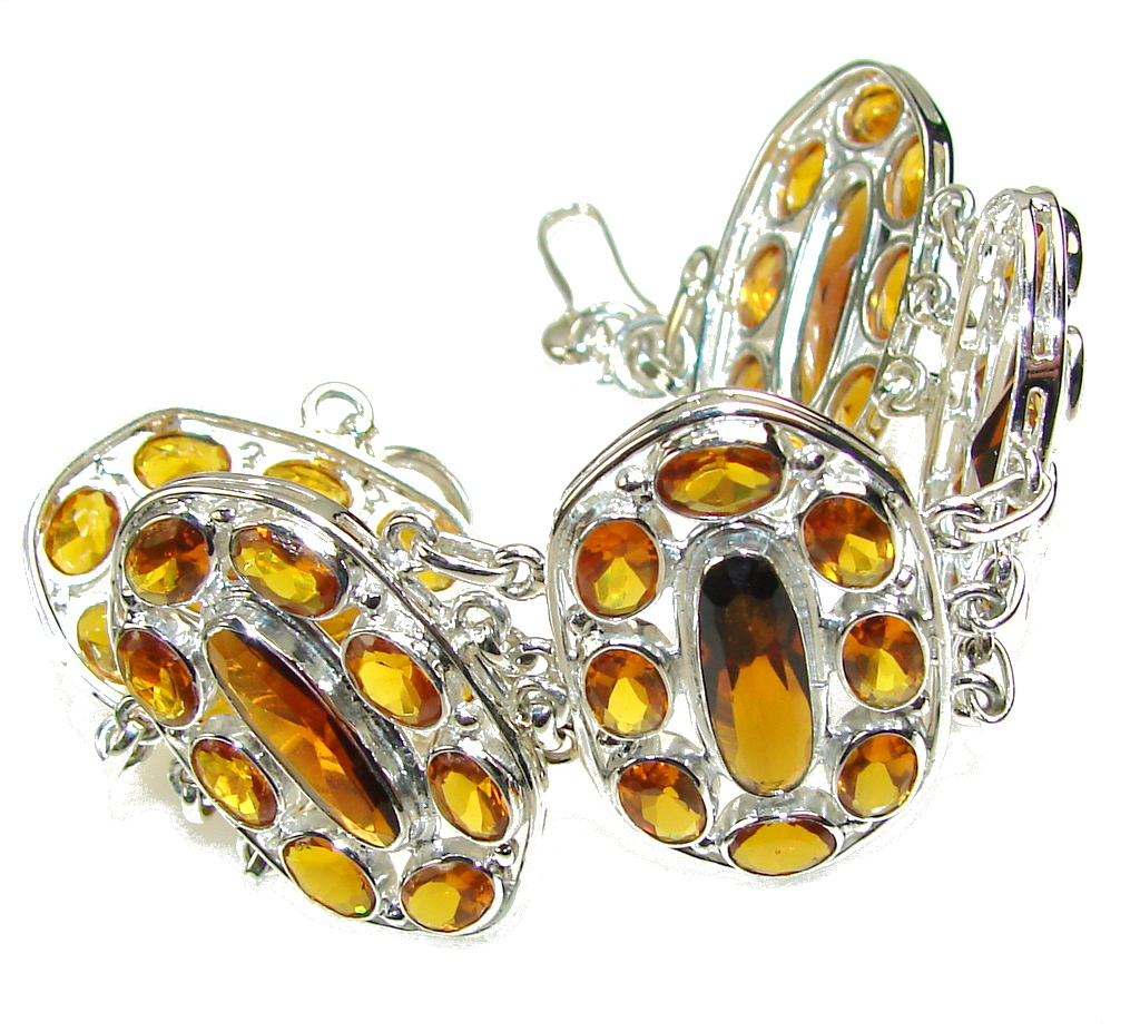 Sunshine Daze!! Honey Topaz Quartz Sterling Silver Bracelet