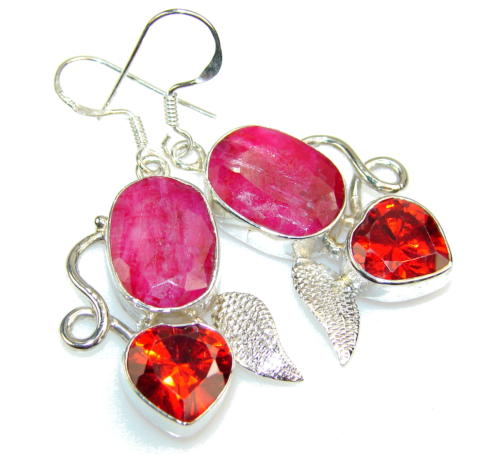 Amazing Pink Ruby Sterling Silver earrings