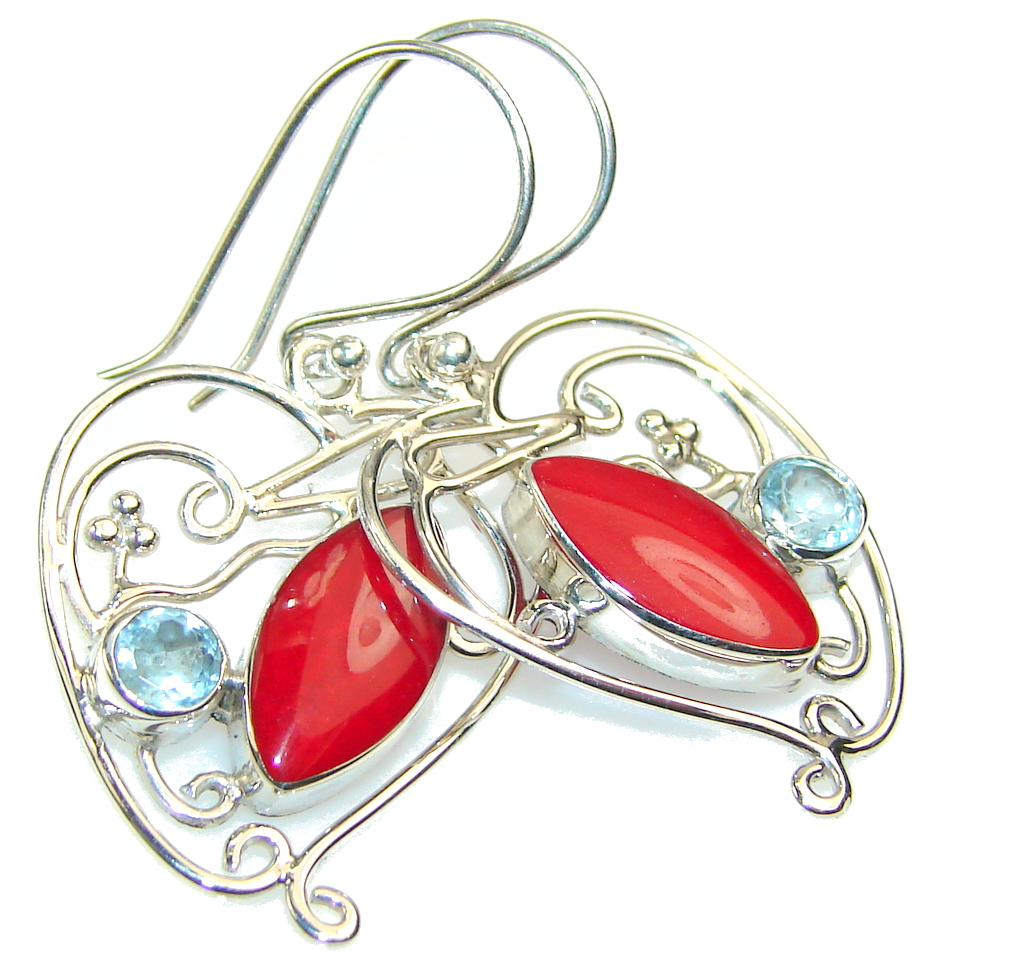 Lovely Design!! Red Coral Sterling Silver earrings