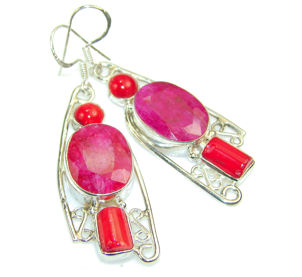 Tropical Pink Ruby Sterling Silver earrings