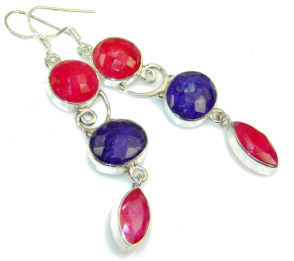 Natural Beauty!! Pink Ruby Sterling Silver earrings