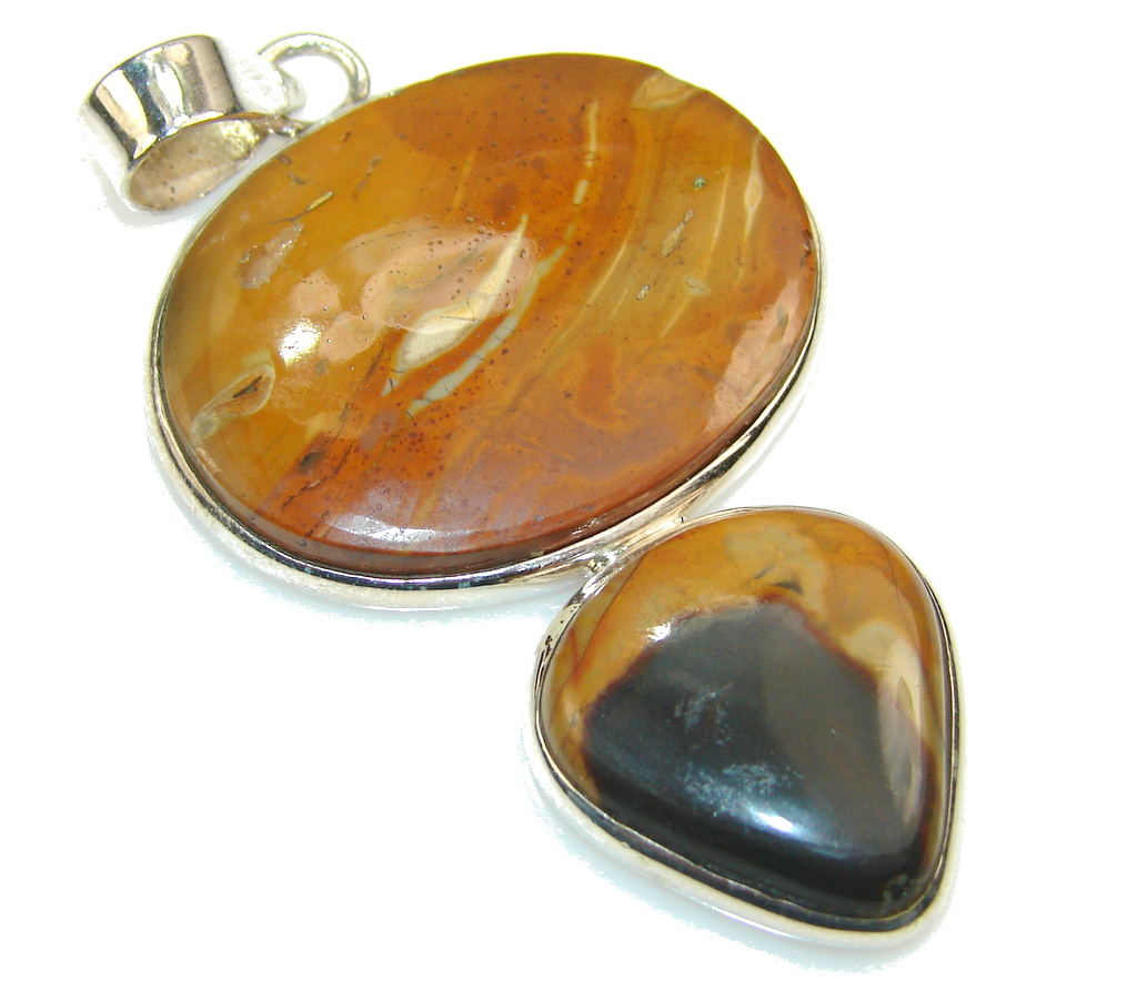 Excellent Brown Wild Horse Jasper Sterling Silver Pendant