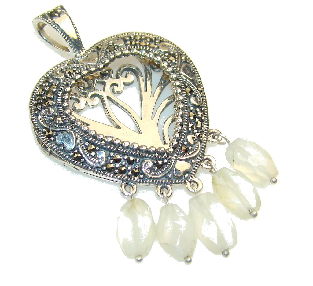 Fashion White Moonstone Sterling Silver Pendant