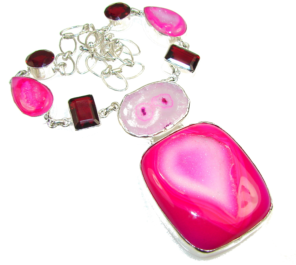 Awesome Color Of Pink Agate Druzy Sterling Silver necklace