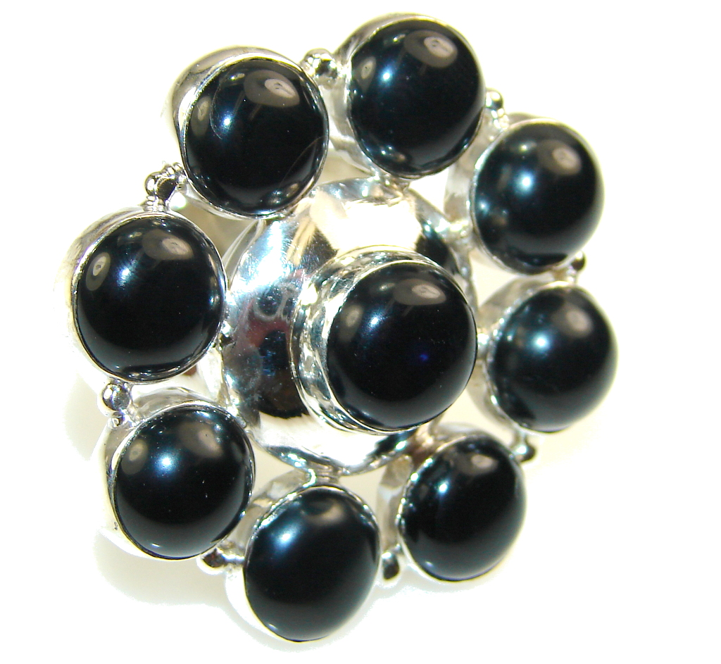 Big!! Excellent Black Onyx Sterling Silver Ring s. 10