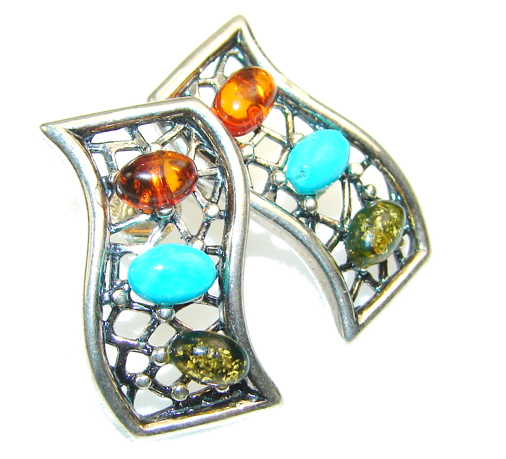 Beautiful Multicolor Polish Amber & Turquoise Sterling Silver earrings