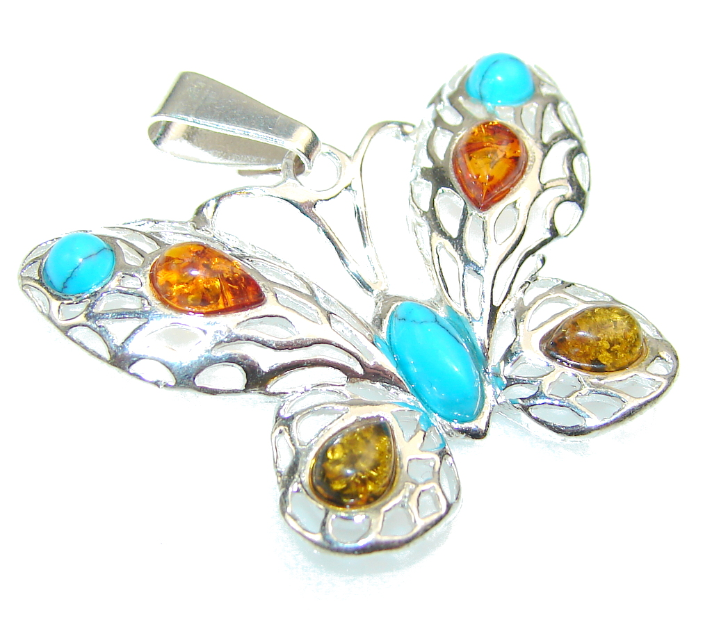 Awesome Butterfly Polish Amber & Turquoise Sterling Silver Pendant