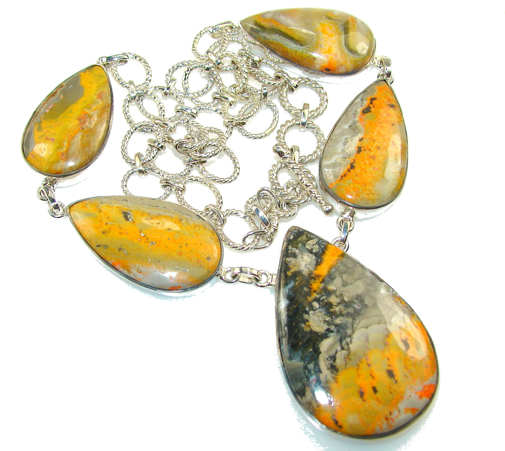 Aura Of Beauty!! Bumble Bee Jasper Sterling Silver Necklace