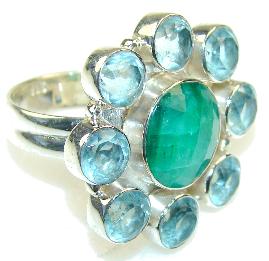 Excellent Green Emerald Sterling Silver Ring s. 10