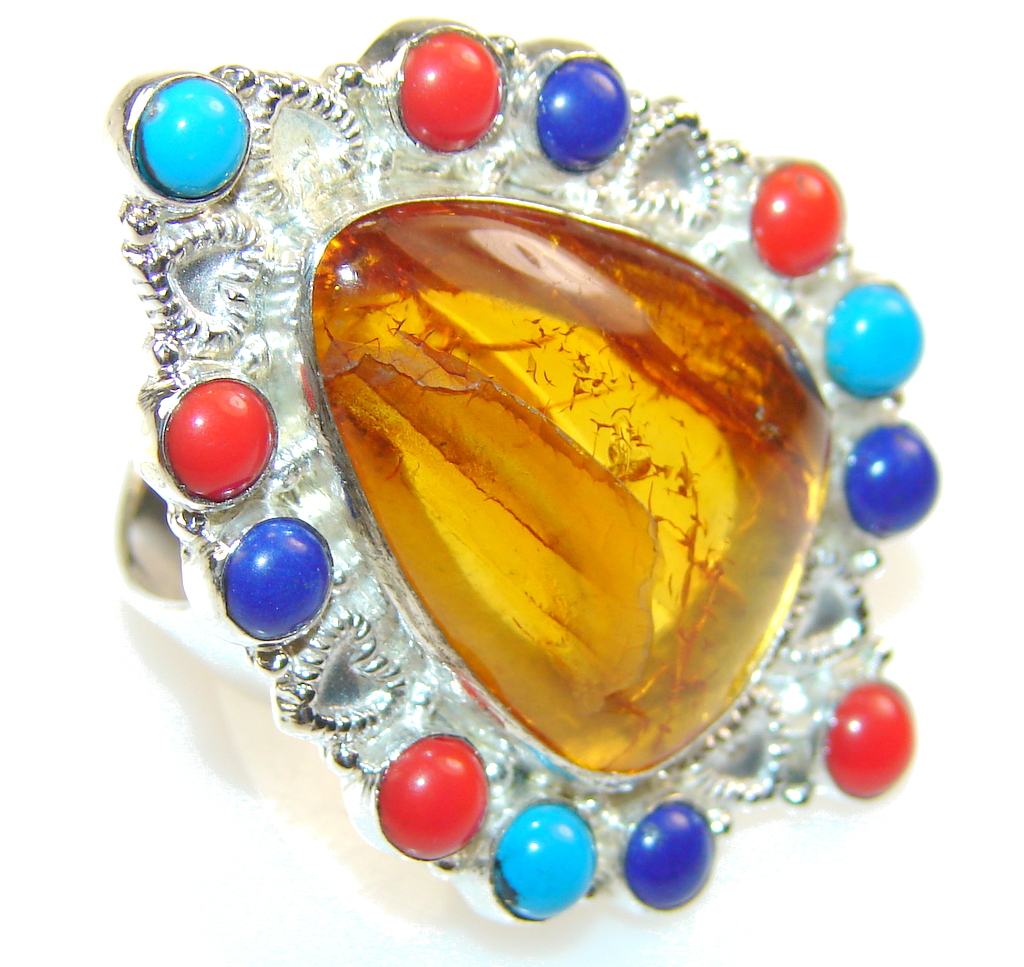 New Fabulous Design Of Brown Amber Sterling Silver Ring s. 10