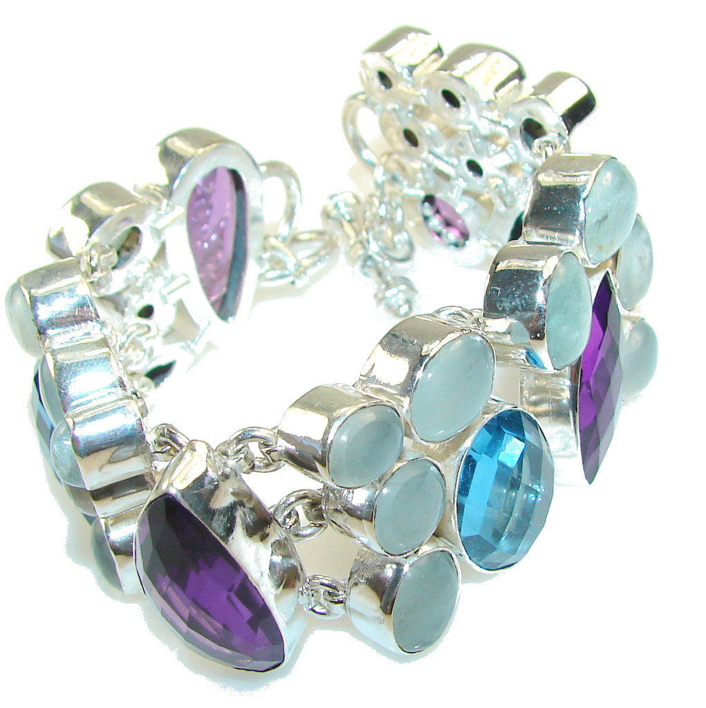 Morning Star!! Multicolor Quartz Sterling Silver Bracelet
