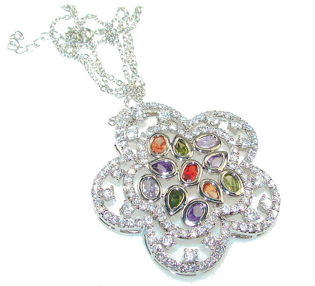 Touch Of Life!! White Topaz Sterling Silver necklace
