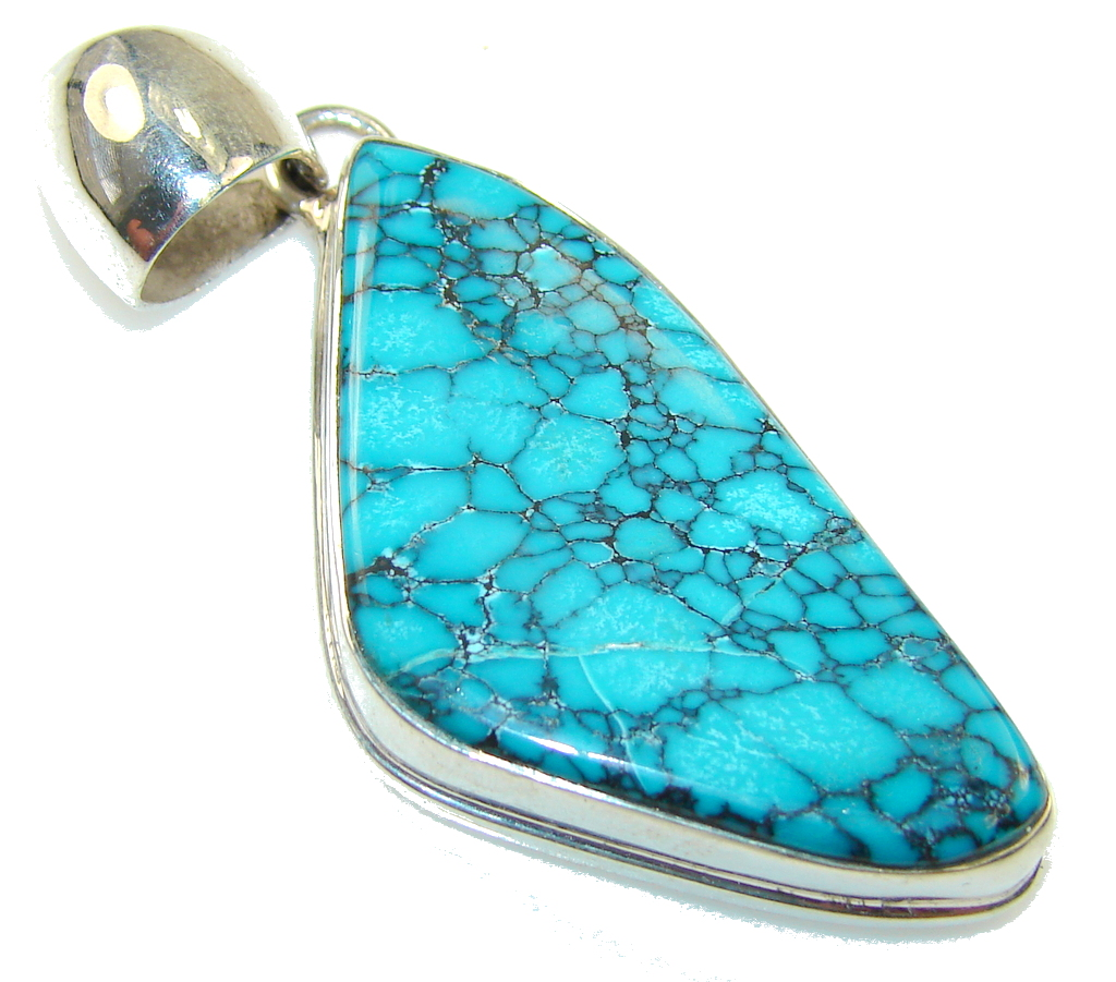 New Trendy!! Blue Turquoise Sterling Silver Pendant