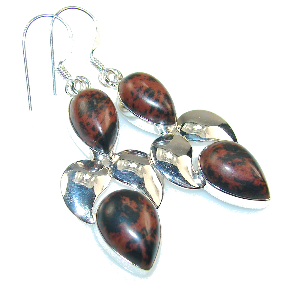Excellent Red Obsidian Sterling Silver earrings