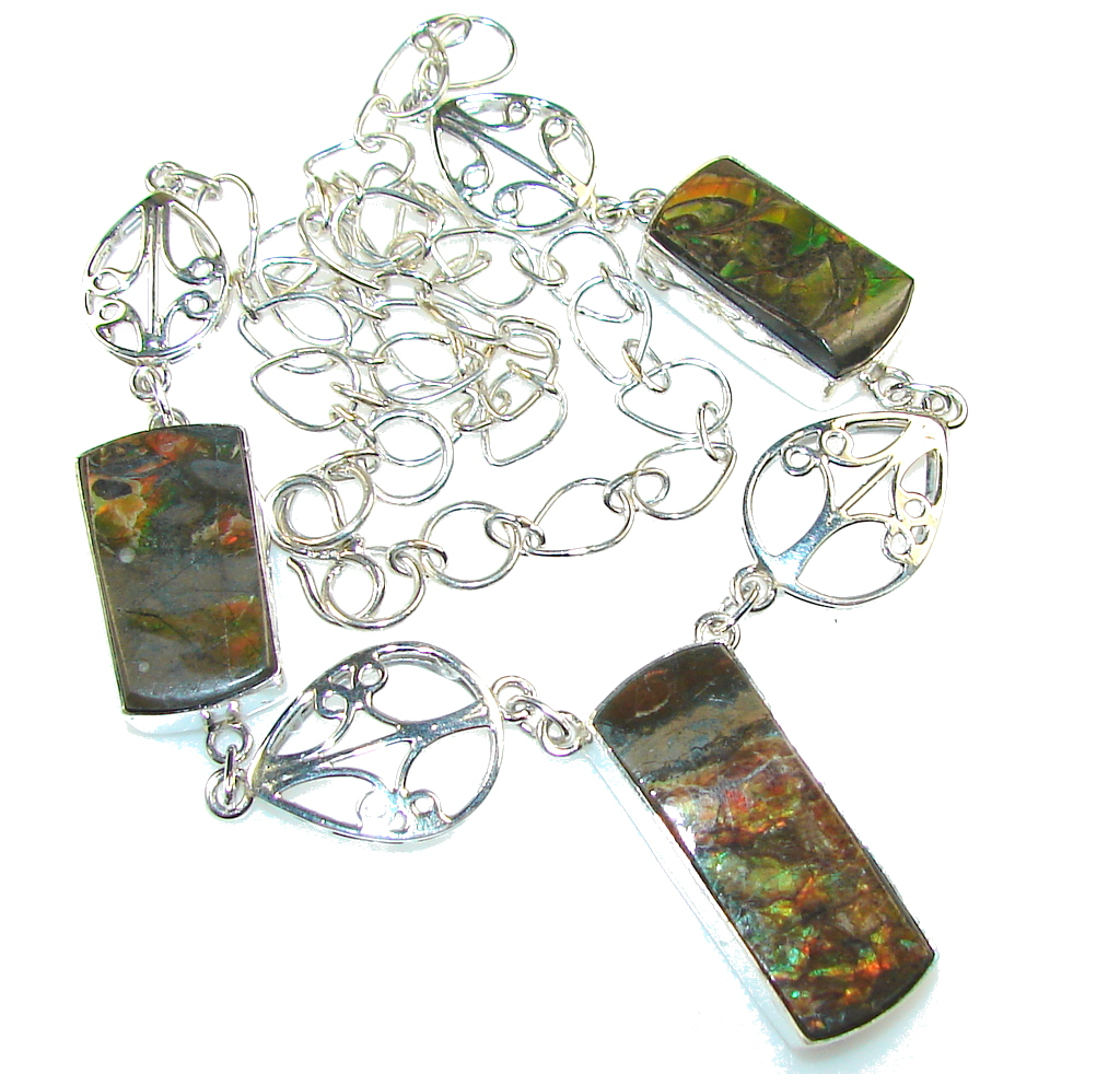 Opening Night!! Ammolite Sterling Silver necklace