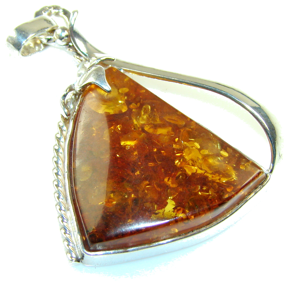 Gorgeous Brown Polish Amber Sterling Silver Pendant