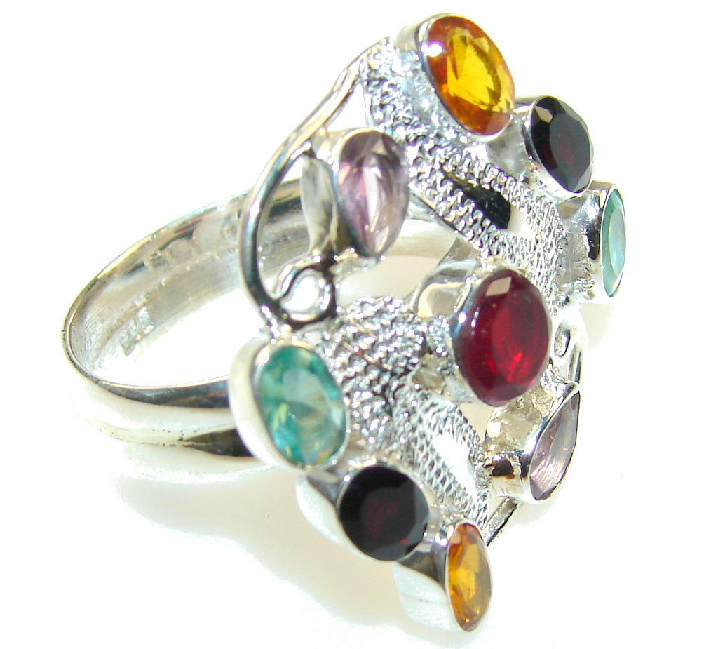 Awesome Multicolor Quartz Sterling Silver Ring s. 10 1/4