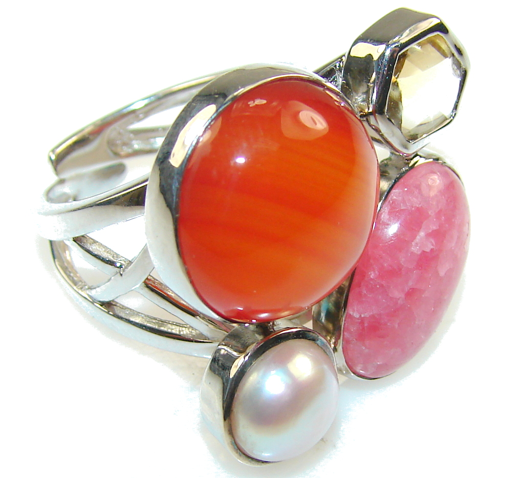 Awesome Design Carnelian Sterling Silver ring s. 7 - Adjustable