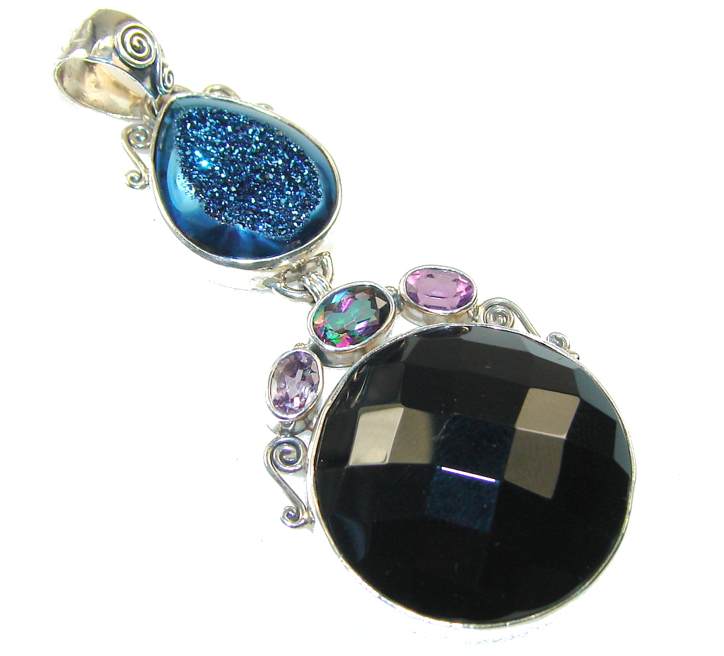 Fantastic Design!! Black Onyx Sterling Silver Pendant