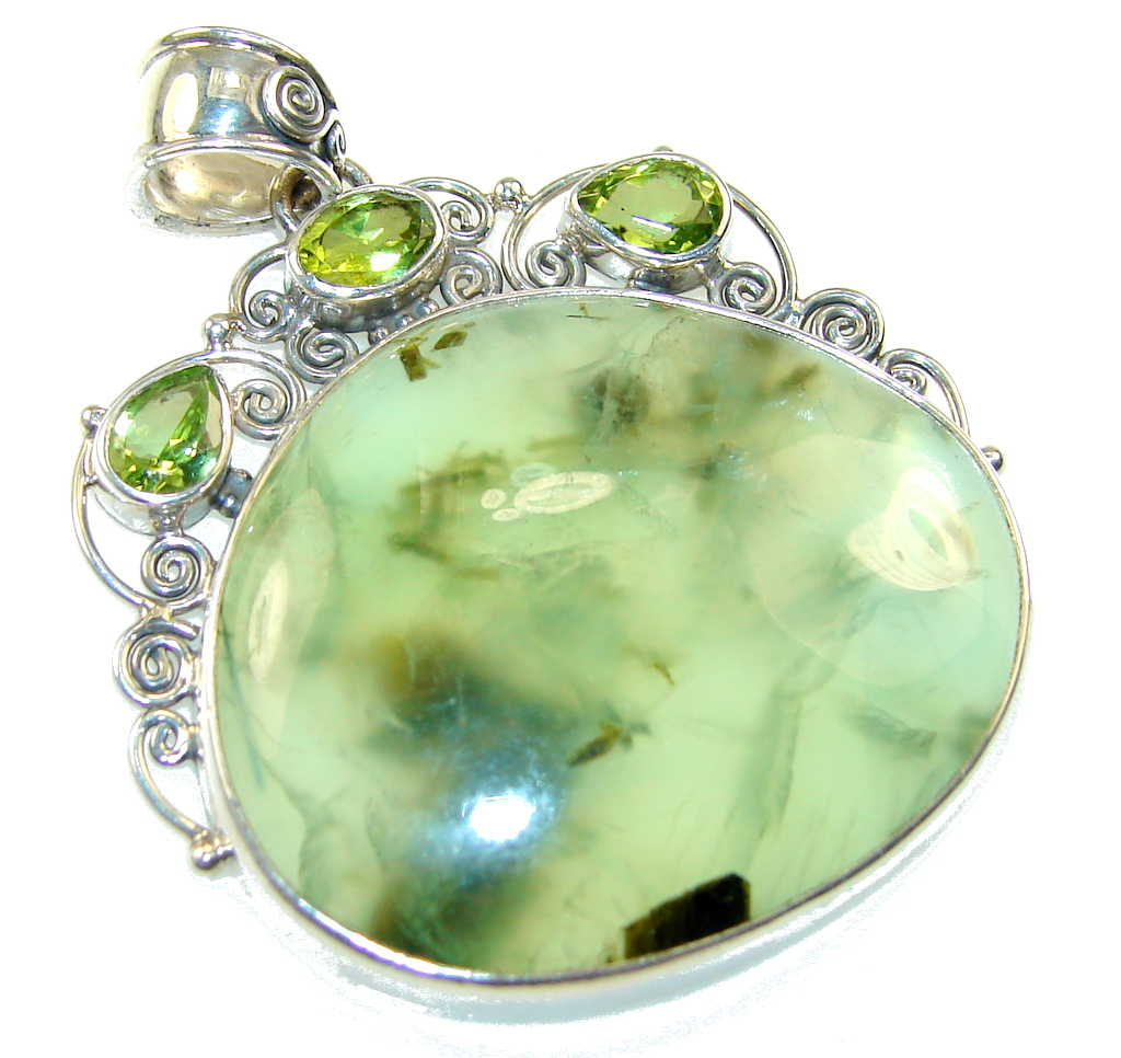 Amazing Green Moss Prehnite Sterling Silver Pendant
