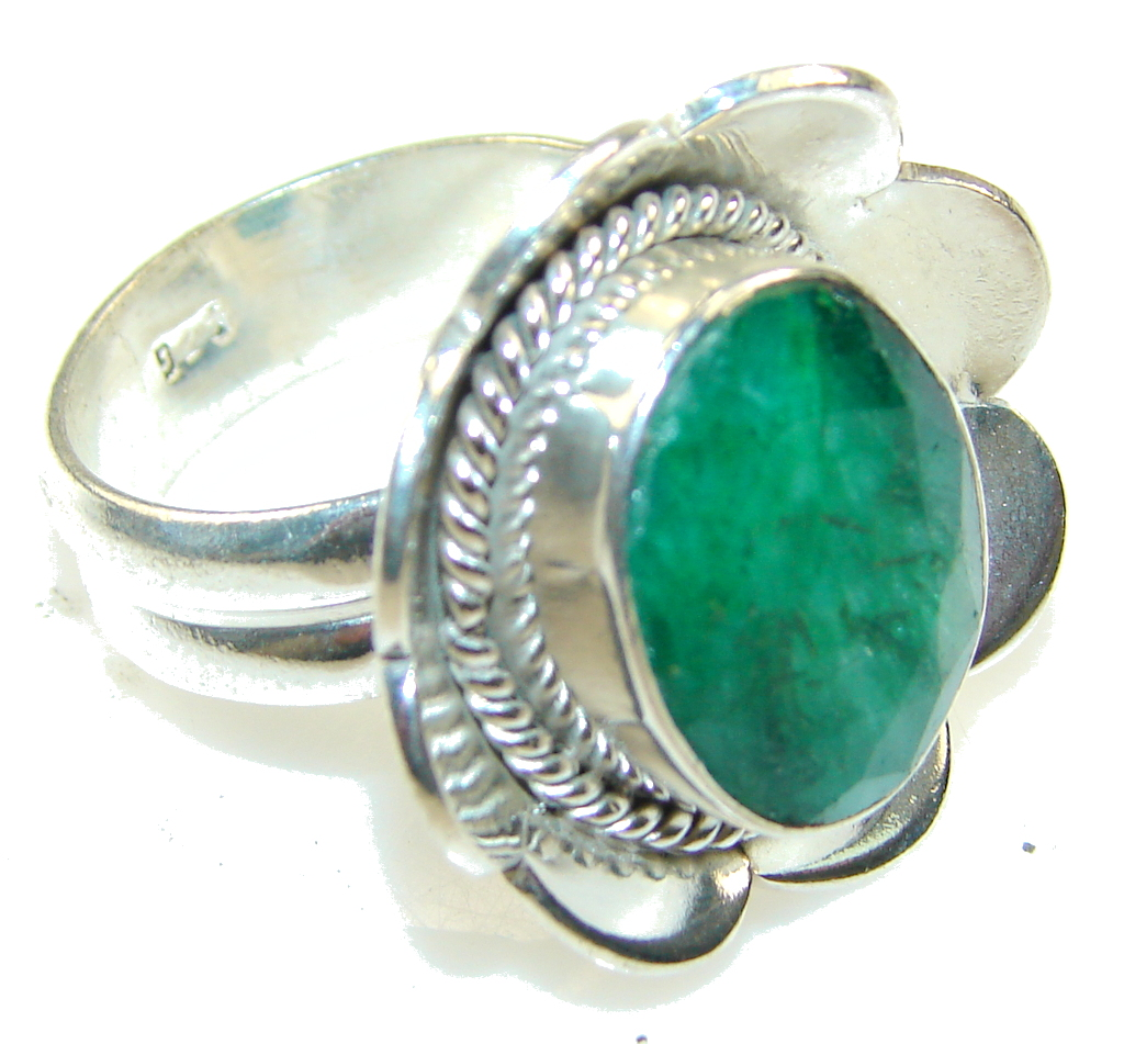Natural Beauty! Green Emerald Sterling Silver Ring s. 7 1/4