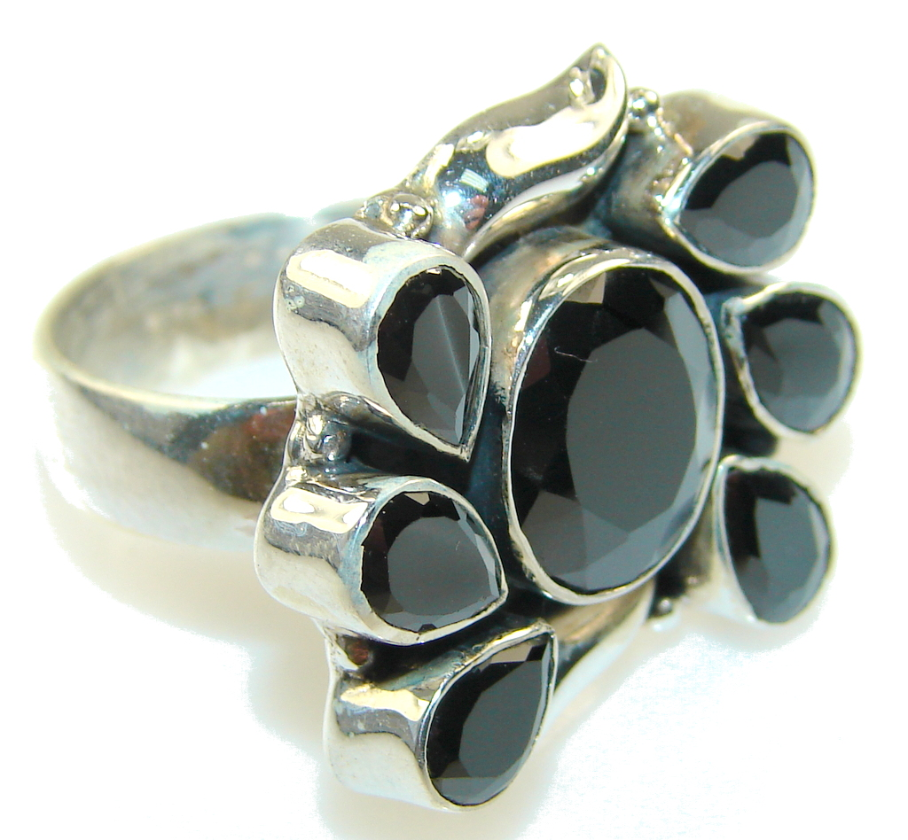 Awesome Design!! Hematite Sterling Silver Ring s. 10